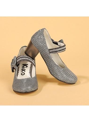 Kiko Kids Kiko 752 Çupra Günlük Kız Çocuk 4 Cm Topuk Babet Ayakkabı Gri